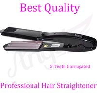 Wholesale Beauty Teeth - Wholesale-Angel 5 Teeth Titanium Hair Crimper Straightening Corrugated Iron Professional Salon And Household Hair Beauty Tool