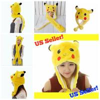 Wholesale Boys Derby Hats - Pikachu Beanie Winter hats Plush Caps For Boy and Grils Poken Go Cute Cartoon Plush Animal Pikachu hats YYA464