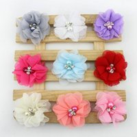 Wholesale Diy Shabby Chic Flower Headbands - Girls Hair Accessories Baby DIY Floral Shabby Chic Flowers 9 Colors 100 Pieces Girls Hair Clips Haar Accessoires Wholesales