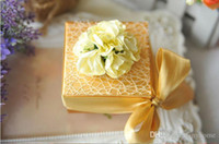 Wholesale Spring Candy Favor Boxes - Gold Boxes With Flowers and Silk Ribbon Favor Holders Wedding And Party Candy Boxes 100Pcs Lot 2016 Spring Style