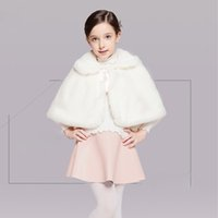 Wholesale Stocking Flower Chinese - White Flower Girl Wedding Shawls Christmas Costume Winter Wear Kids' Capes Lovely Girls' Accessories In Stock