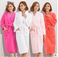 Wholesale Thick Nightgown - Wholesale-Hot couple autumn and winter thick cashmere nightgown bathrobe men and womens long sleeve pajamas warm solid color Robes