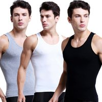 Wholesale Sexy Equipment - Fashion Mens Tank Tee Shirt Pure Color Cotton Knitting Vest Sexy Slimming Bodybuilding Equipment Fitness Male Vest Tops