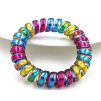 Wholesale Rubber Band Hair Designs - hairband hair bands rope elastic telephone wire spring design for Women girl Hair Accessories headwear holder colorful rainbow