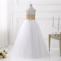Wholesale Buy Pageant Dresses Girl - High Buy 2017 Hot Sexy Shining Gold Crystals Girls Pageant Dresses Tulle Halter Ball Gown Flower Girls Dresses Girls Pageant Gown