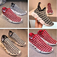 2017 Nome Marca Speed ​​Trainer Casual Shoe Homem Mulher Race Runner Shoes Moda Designer Knitting Mesh Cut-Outs Slip On Cheap Sneaker With Box