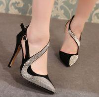 Wholesale Ladies Retro Sandals - Fashion Luxury Women Beautiful Retro Diamond Pointed High-heeled Sandals Roman Gladiator Style Party Rhinestone Ladies Shoes 35-39