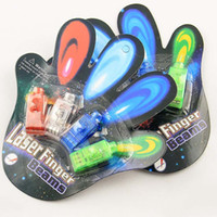 ingrosso luce della luce della barretta-Chistmas LED Bright Finger Ring Light Glow LED Laser giocattoli dito dito dito luce della lampada luce giocattolo di Halloween Con la scatola di trasporto EMS E1529