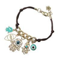 Wholesale Evil Eye Gold Bracelet Plated - Wholesale Hand of Fatima Hamsa Bracelet Evil Eye String Multiple Pendant Handmade Bracelet Knit Link