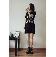 Wholesale Beating Dress - summer dress 2017 korean harajuku Street beat mickey palm kawaii rock sexy cute hollow thin black loose dress women