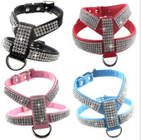 Wholesale Red Bling Dog Harnesses - Soft Velet Fashion Bling Rhinestone Cat Dog Harness for Small Dogs Blue Red Black Pink Luxurious Pet Cat Dog Accessories