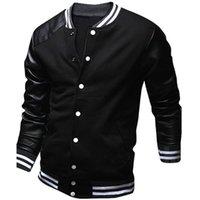 Wholesale veste baseball online - Cool College Baseball Jacket Men Fashion Design Black Pu Leather Sleeve Mens Slim Fit Varsity Jacket Brand Veste Homme