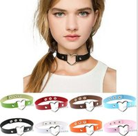 Wholesale White Leather Collar Studded - Fashion Sexy Punk Gothic Leather Choker necklace Heart Studded Spike Rivet Buckle Collar Chokers Necklace Jewelry NC