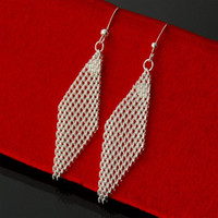 Wholesale Mesh Dangle - Fashion jewelry silver 925 sterling silver rhombus mesh design drop earrings for women Christmas gift for friends