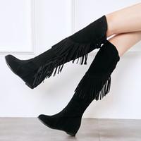 kahverengi kama çizme kadın toptan satış-2018 yeni Moda Yeni Sonbahar Kış Ayakkabı Bağbozumu Kore Tarzı Kadın Fringe Boots Platformu Çizmeler Teneke Kutu Kama Boot siyah kahverengi