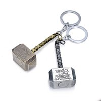 Wholesale Thor Key Ring - Superhero Thor Hammer Keychain Metal The Avengers Mjolnir Figure Pendant Key Chains key rings fashion jewelry BY DHL 170372