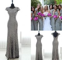 Wholesale Grey Sequin Long Dress - New Bling Grey Sequins Mermaid Bridesmaid Dresses 2016 Short Sleeves Backless Bridesmaid Gowns Plus Size Long Junior Wedding Party Gowns