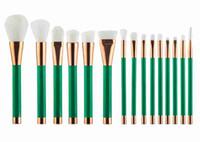 ingrosso set di pennelli viola trucco-Set da 15 pezzi pennello da trucco, pennello bianco con manico verde, pennello rosa con manico oro, pennello viola con manico nero, 100 pezzi / lotto