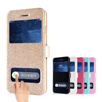 iphone 5s anzeigen flip cover großhandel-Großhandels-Coque für iPhone 4 4s 5 5s SE 5c 6 6s plus 6s Plusfall Luxus Silk Schlag-Abdeckung PU-Leder-Telefon-Taschen Touch Window View Design