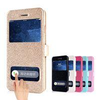 iphone 5s lüks flip durumlarda toptan satış-Toptan-Coque iPhone 4 4 s 5 5 s SE 5c 6 6 s Artı 6 s Artı kılıf Lüks Ipek Kapak Kapak PU Deri Telefonu Çanta Dokunmatik Pencere Görünüm Tasarım