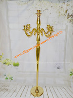 Wholesale Wholesale Silver Plated Candlesticks - 4ft Tall Gold Plated Silver Decorative Floor Metal Candelabras For Weddings Party Decor,Candlestick holder stand