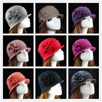 Wholesale Vintage Beanie Hats - Ladies Winter 100% Wool Vintage Elegant Flanging Dome Beanie Hat Cap Gift For Mother