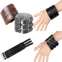 Wholesale Mens Wide Leather Cuff Bracelets - Hot Punk Mens Bracelets Thick Three Layers Band Through Buckle Wide Vintage Genuine Leather Bracelet Wristband Cuff