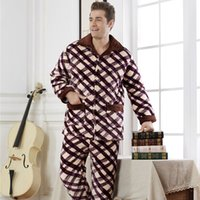 Wholesale White Mink Collar - Wholesale-Resist Ultracold Winter Super Thick Mink Fleece Men Sleepwears Male Set Plus Size Thick Flannel Lounge Long-sleeve Pajama Sets