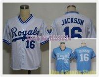 Wholesale Online Cheapest Shorts - NWT Kansas City Royals 16 Bo Jackson Jersey White Blue 1989 MN Embroidery Cheap Baseball Jerseys Best Quality Cheapest Online
