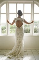 Wholesale Wedding Dress Back Hole - Classic Key Hole Back Lace Wedding Dresses with Cap Sleeves Plunging Neckline Sheath Beach Bridal Gowns vestidos de novia Sheer Bride Dress