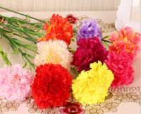 Wholesale Wedding Decor Purple Silver - Wholesale High Simulation Artificial Carnations Bouquet Silk Flower For Home Living Room Party Wedding Decor Valentine Mother's Day Gift