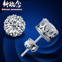Wholesale Earrings Titanium Flowers - Korean factory direct gold-plated silver earring luxury Korean wedding crown earrings zircon earring earrings