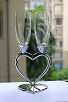Wholesale Beautiful Cups Glasses - Free Shipping Fashion silver red wine cup set  1 pair heart shape champagne glass high quality wine cup beautiful wedding gift