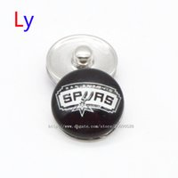 Wholesale Resin Characters - Noosa chunks Pendant Bracelet 18mm Snap button buttoned Spurs San Antonio sports interchangeable jewelry for Sports fans NE0023