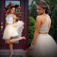 Wholesale Dress Graduation Lilac - Fashion Two Pieces Halter Homecoming Dresses 2017 Beading Crystal Top Tulle Short A Line Party 11th Grade Graduation Prom Dress Cocktail