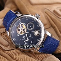 Super Clone Brand Alta qualidade Cheap Traditionnelle Complex Tourbillon Blue Dial Automatic Mens Watch Prata Case Blue Leather Strap Relógios