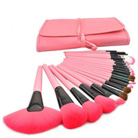 Wholesale cosmetic logos for sale - 24pcs Professional Makeup Brushes Set Cosmetic Make Up Brush Kit Pink Makeup Tool Pink Leather Case Black Wood No Logo