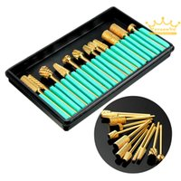 Wholesale Electric Tools Drill Metal - 12Pcs Pro Cylinder Electric Gold Carbide art Nail Care Drill Bit Accessories Grinding Head Set Tool File Metal Round Style