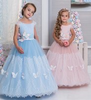 Wholesale Scoop Neckline Tiered Pageant Dresses - Cute Princess Flower Girls Dresses Scoop Neckline With Applique Girls Pageant Dresses Sash Tiered Ruffle Back Zipper Custom Made Party Gowns