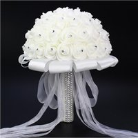 Wholesale Bridal Bouquets Flowers Rose Simulation - Hot Sales White Foam Simulation Flowers Beautiful Bridal Wedding Holding Flowers Exquisite Handmade Wedding Supplies Bouquet Free shipping