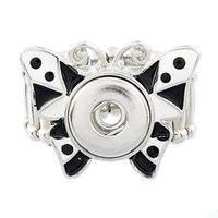 NOOSA Snap Charms Butterfly Ring auswechselbare Schmuck Metall Snap Button Silber Ton Snap Flower Band Ringe Elastische Ringe