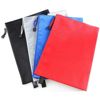 Wholesale Plastic Document File - High-grade 10pcs lot Waterproof Stationery File Bags With Zipper File Folder Canvas Zipper Paper Clip Pencil Bag File Bag Papelaria
