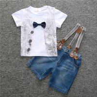 Wholesale Wear Tutu Jeans - 2016 Summe rThe new children's wear suits 2016 in the fall of popular clothing plaid T-shirt+jeans+braces piece suits
