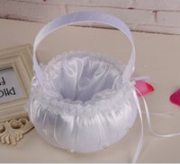 Wholesale Eco Friendly Products Basket - Bride flower baskets Creative Flower Silk basket Marriage supplies wedding decoration white Lace basket Home Products new Sundries wholesale