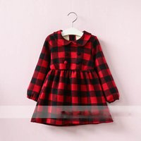 Wholesale Wholesale Organic Buttons - Everweekend Girls Button Plaid Ruffles Dress Cute Baby Red and Pink Color Clothes Princess Fleece Lining Autumn Winter Clothing