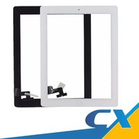 Wholesale Wholesale Button Parts - Repair Standar For iPad 2 Touch Screen Part Assembly with home button with adhesive Replacement Front Glass White Black Fast Delivery