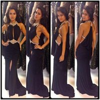 Wholesale Legging Sexy Models - Sexy Black Rhinestone Beading Long Prom Dresses Sexy Backless Leg Split Mermaid Evening Gowns Unique Crystal Halter Party Dresses