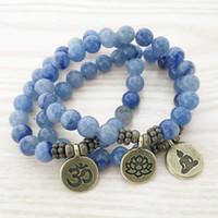Wholesale SN1108 High Quality Handmade Bracelet Blue Aventurine Bracelet Antique Brass Om Buddha Lotus Charm Bracelet Best Gift For Him