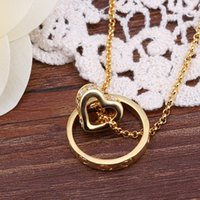 Wholesale rhinestone rings yellow gold resale online - Hot sale k k yellow gold round ring Pendant Necklaces jewelry GN591 fashion gemstone crystal necklace christmas gift