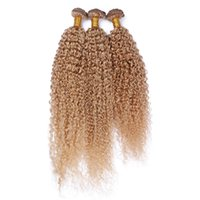 Wholesale Cheap 24 Blonde Weft Hair - Brazilian Kinky Curly Human Hair Extensions Honey Blonde Hair Bundles Unprocessed #27 Pure Color Hair Weaves 3 Pcs Lot Cheap Price